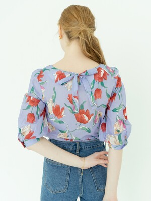 Big Flowers Printed Ribbon Blouse