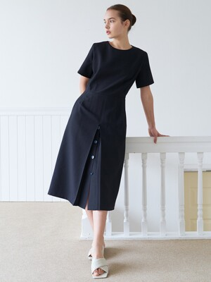 button slit dress-black