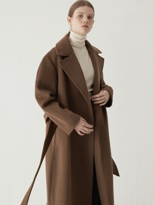 [단독] Cashmere blended maxi coat - Brown