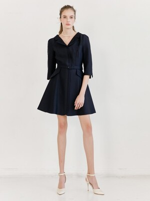 DIANA V-neck notched collar flared dress (Deep Navy) (Short)