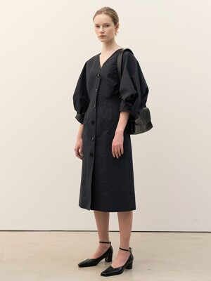 FW20 Twisted Volume Sleeve Dress Navy
