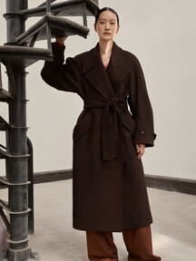 [EXCLUSIVE] WOOL BELT COAT - DARK BROWN