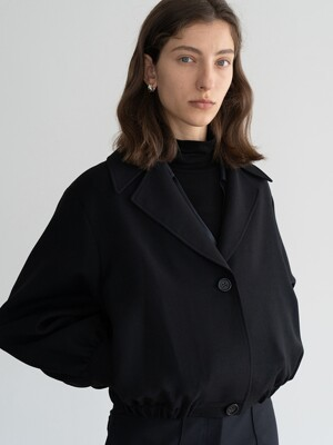 CROPPED-HEM WOOL-BLEND JACKET (BLACK)