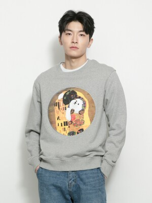 KISS DOG GALLERY PATCH DOG SWEAT-SHIRTS GRAY