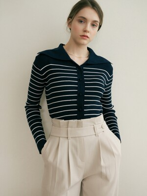 monts 1251 stripe collar cardigan knitwear (navy)