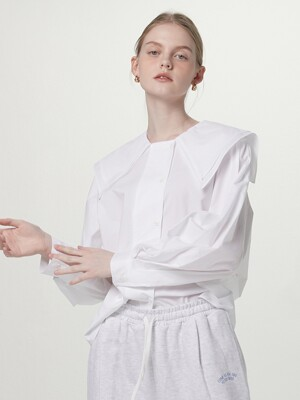 Double collar blouse - White