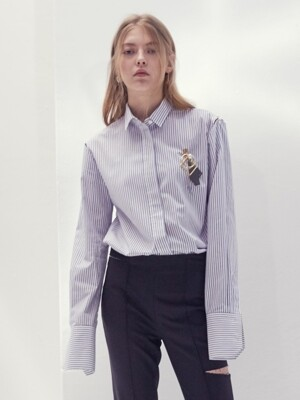 17SS STRIPED MIRROR-DETAIL COTTON SHIRT(WHITE)