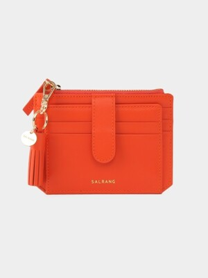 Dijon 301S Flap mini Card Wallet coral orange