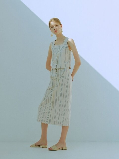 [EXCLUSIVE] STRIPE LINEN SLEEVELESS TOP & SKIRT SET_2colors