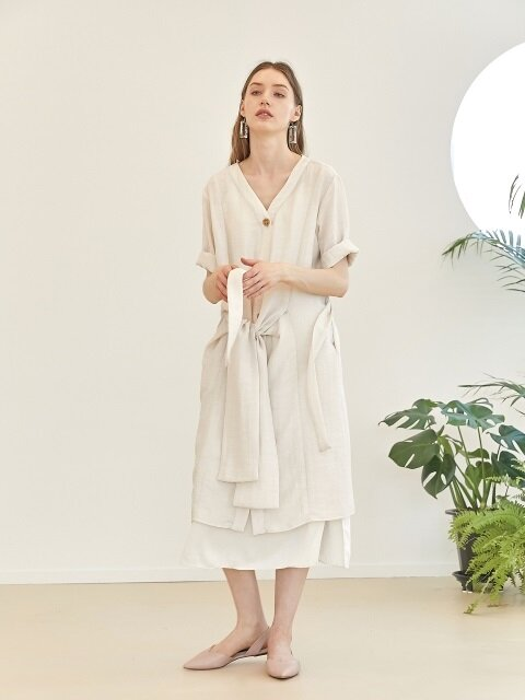 Panel robe dress - Beige