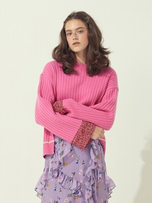 COLOR BLOCK KNIT PULLOVER - IVORY/PINK