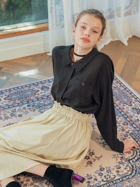 flare leather clothes skirt