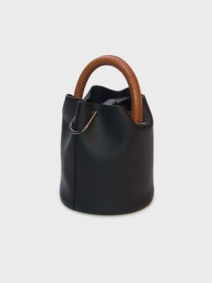 한나백 23° Hannah bag - BLACK WITH CROC TAN HANDLE