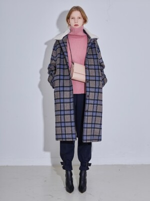 SHEARING-COLLAR SET WOOL CHECK COAT - BLUECHECK