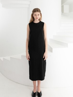 LINEN SLIT BUTTON DRESS . BLACK