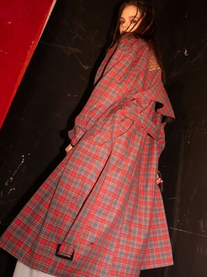 Signature Check Trench Coat (RED)