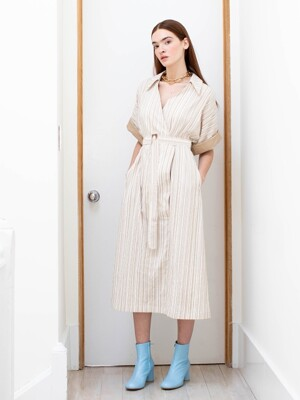 PORT GREEN oversized short sleeve wrap dress (Beige stripe)