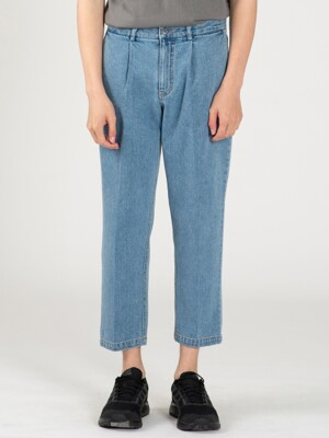 ONE TUCK SOFT CROP JEANS BLUE