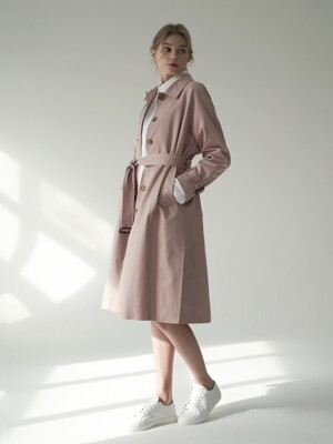 Side slit trench coat_Pink