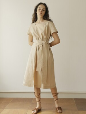 19SS SQUARE NECK COTTON DRESS /BEIGE