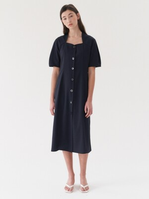 Puff Button Dress-navy