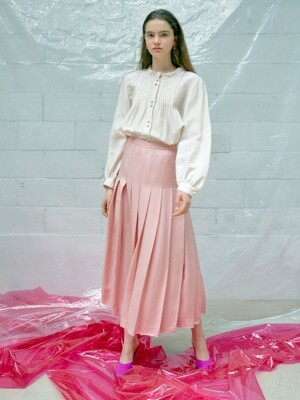 Frill-neck Blouse in Light Pink