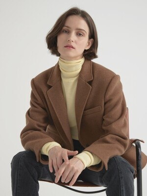 Wool herringbone jacket - Brown