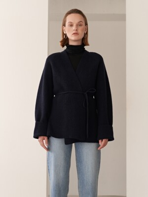 19FW CASHMERE BELTED KNIT CARDIGAN NAVY