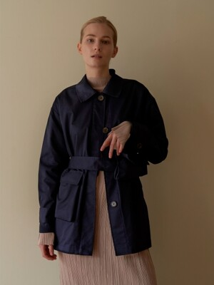 Pocketable trench coat - Navy