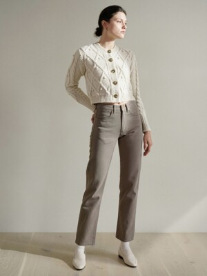 Straight fit cotton pants (Stone beige)
