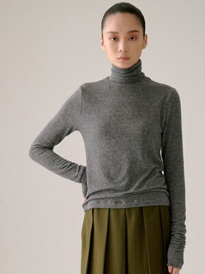 CHARCOAL GREY TURTLE NECK JERSEY TOP