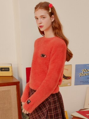 (KT-19736) FLUFFY KNIT PULLOVER CORAL