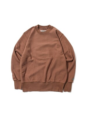 Loose Fit Sweat Shirt -Brown-