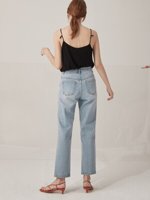 Light washing denim pants - Blue