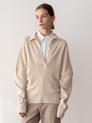 20SP COLLAR KNIT SWEATER (BEIGE)