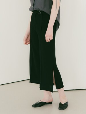 Side Vent Wide Slacks [Black]
