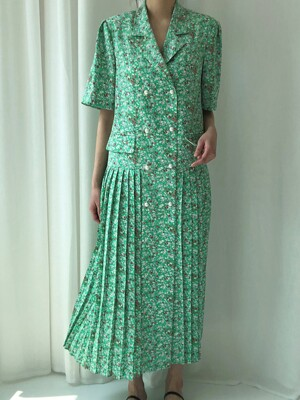 SUMMER PLEATS DRESS _ GREEN