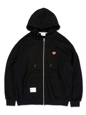 OL177_LOVE Mini Logo Hood Zipup_Black