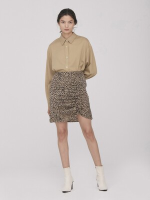 Leopard Shirring Mini Skirt_Beige