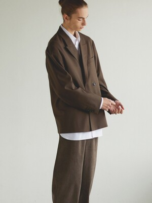 Wool Double Breasted Jacket_ Brown
