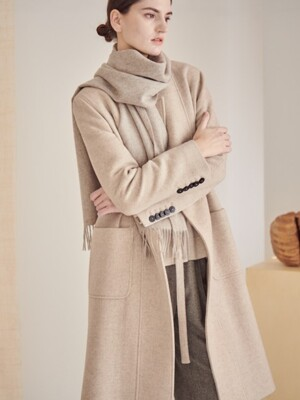 COLLARLESS CLEAN COAT_WHEAT
