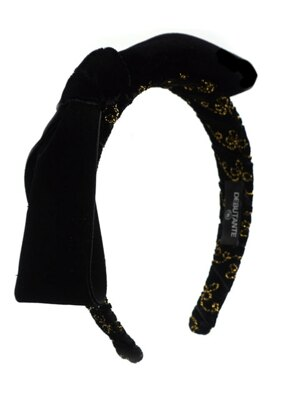 DbT's Gold Embroidery Velvet Big Ribbon Headpeice - Black
