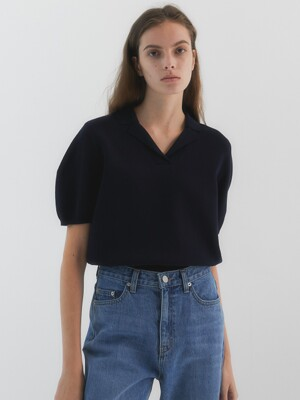 Daisy Volume Puff Short Sleeves Knit_Navy