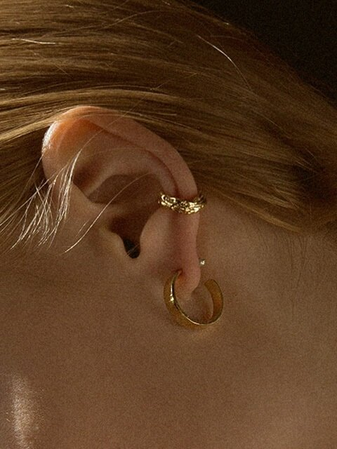 Erratic melt ear-cuff+Slick simple earring SET