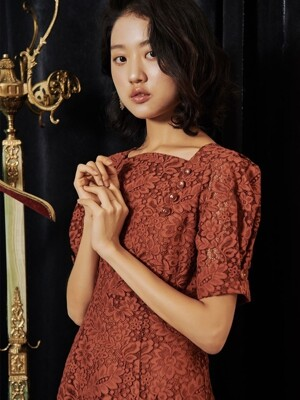 PUFF SHOULDER BUTTON LACE DRESS_ORANGE BROWN