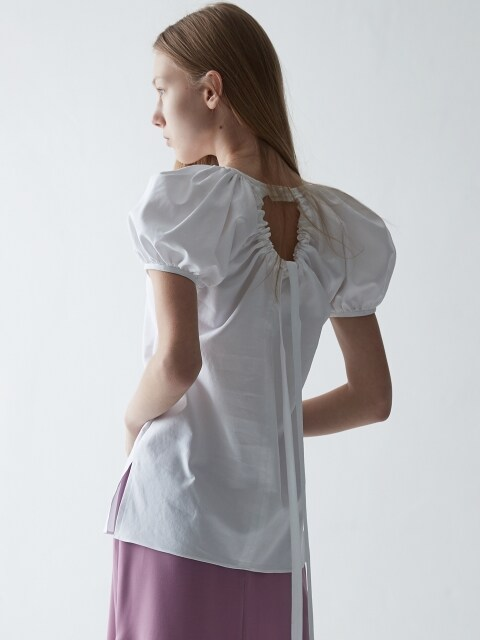 PUFF SLEEVE RIBBON BLOUSE_WHITE