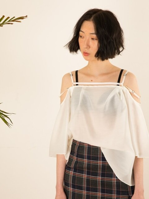2018 S/S Off Shoulder Seethrough Blouse