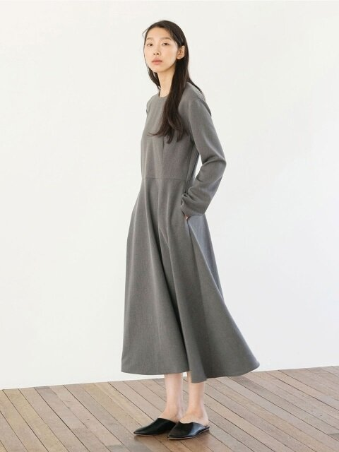 Heavy Weight Flared Dress - Grey