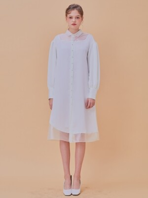 Dramatic Shirts Dress _ White