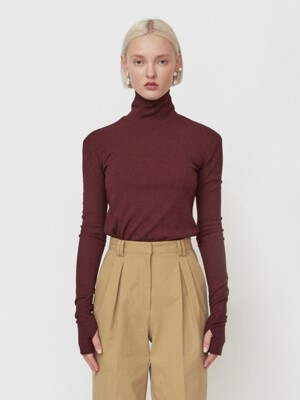 18FW `THE NEW ORDNUNG` EMBROIDERED TURTLENECK - BURGUNDY